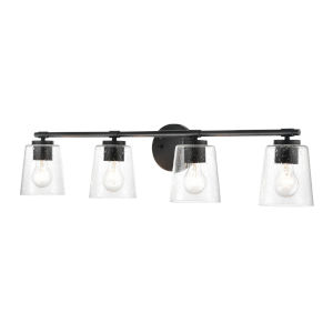 Matte Black 34-Inch Four-Light Bath Vanity
