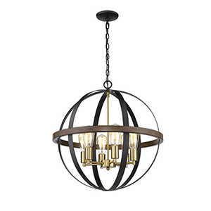 Matte Black and Heirloom Bronze Five-Light Pendant