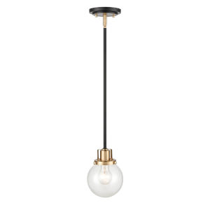 Matte Black Modern Gold One-Light Mini Pendant