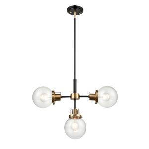 Matte Black Modern Gold Three-Light Pendant