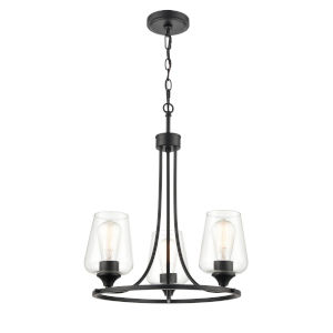 Ashford Matte Black Three-Light Chandelier