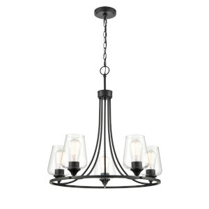 Ashford Matte Black Five-Light Chandelier