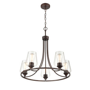 Ashford Rubbed Bronze Five-Light Chandelier