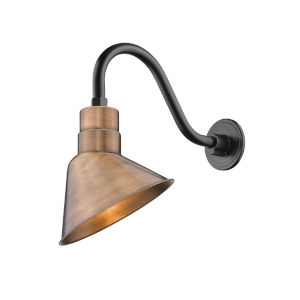 R Series Copper 10-Inch One-Light Outdoor Wall Sconce with Gooseneck