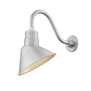 R Series Galvanized 10-Inch One-Light Outdoor Wall Sconce with Gooseneck