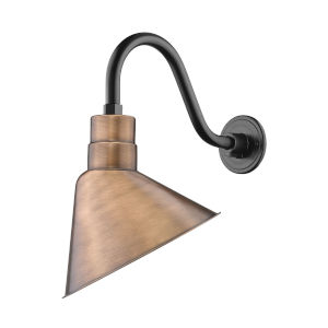 R Series Copper 12-Inch One-Light Outdoor Wall Sconce with Gooseneck
