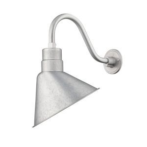 R Series Galvanized 12-Inch One-Light Outdoor Wall Sconce with Gooseneck