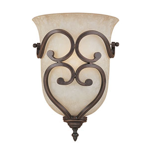 Courtney Lakes Rubbed Bronze One-Light Sconce with Turinian Scavo Glass