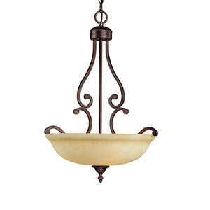Courtney Lakes Rubbed Bronze Three-Light Pendant with Turinian Scavo Glass