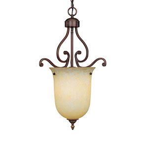 Courtney Lakes Rubbed Bronze One-Light Pendant with Turinian Scavo Glass