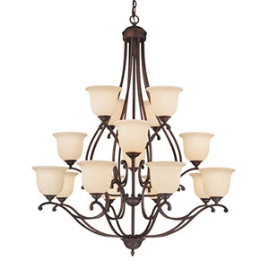 Courtney Lakes Rubbed Bronze Sixteen-Light Chandelier with Turinian Scavo Glass