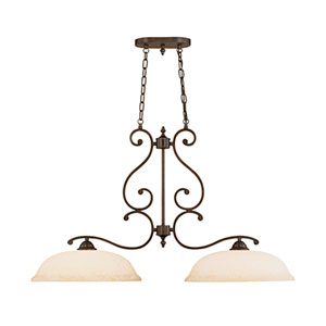 Courtney Lakes Rubbed Bronze Two-Light Island Pendant with Turinian Scavo Glass
