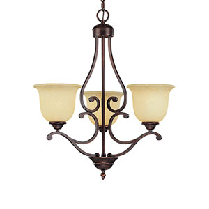 Courtney Lakes Rubbed Bronze Three-Light Chandelier with Turinian Scavo Glass
