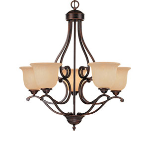 Courtney Lakes Rubbed Bronze Five-Light Chandelier with Turinian Scavo Glass