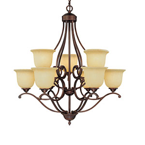 Courtney Lakes Rubbed Bronze Nine-Light Chandelier with Turinian Scavo Glass