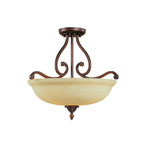 Courtney Lakes Rubbed Bronze Three-Light Semi-Flush with Turinian Scavo Glass