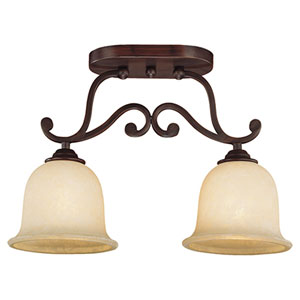 Courtney Lakes Rubbed Bronze Two-Light Semi-Flush with Turinian Scavo Glass