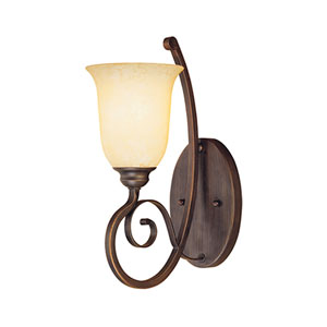 Chateau Rubbed Bronze One-Light Sconce with Turinian Scavo Glass
