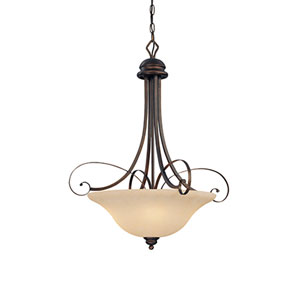 Chateau Rubbed Bronze Four-Light Pendant with Turinian Scavo Glass