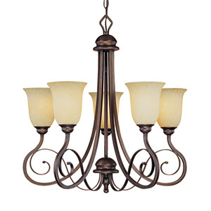 Chateau Rubbed Bronze Five-Light Chandelier with Turinian Scavo Glass
