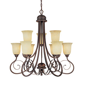 Chateau Rubbed Bronze Nine-Light Chandelier with Turinian Scavo Glass