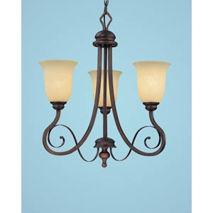 Chateau Rubbed Bronze Three-Light Chandelier with Turinian Scavo Glass