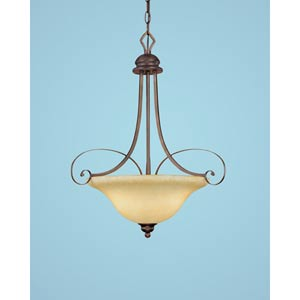 Chateau Rubbed Bronze Three-Light Pendant with Turinian Scavo Glass