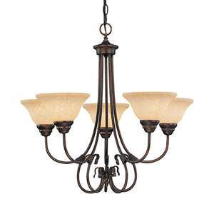 Fulton Rubbed Bronze Five-Light Chandelier with Turinian Scavo Glass