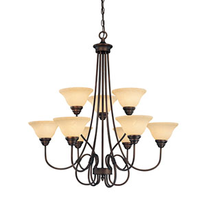 Fulton Rubbed Bronze Nine-Light Chandelier with Turinian Scavo Glass