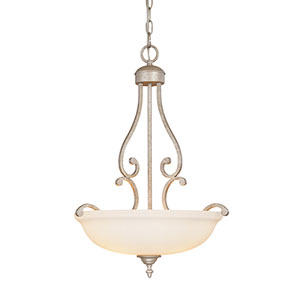 Courtney Lakes Vintage Iron Three-Light Pendant with Linen Glass