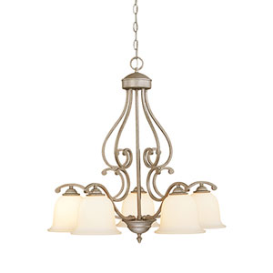 Courtney Lakes Vintage Iron Five-Light Chandelier with Linen Glass