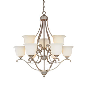 Courtney Lakes Vintage Iron Nine-Light Chandelier with Linen Glass