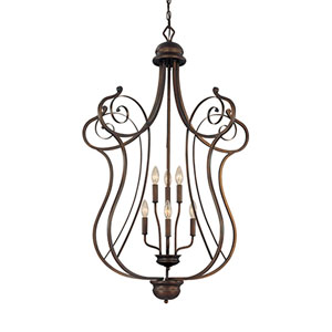 Chateau Rubbed Bronze Six-Light Pendant