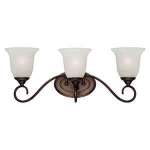 Rubbed Bronze Three-Light Bath Fixture