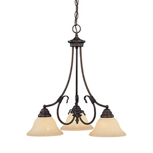 Fulton Rubbed Bronze Three-Light Chandelier with Turinian Scavo Glass