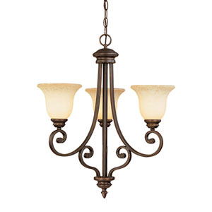 Oxford Rubbed Bronze Three-Light Chandelier with Turinian Scavo Glass