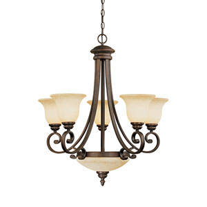 Oxford Rubbed Bronze Seven-Light Chandelier with Turinian Scavo Glass