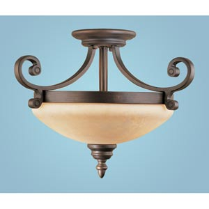 Oxford Rubbed Bronze Two-Light Semi-Flush with Turinian Scavo Glass