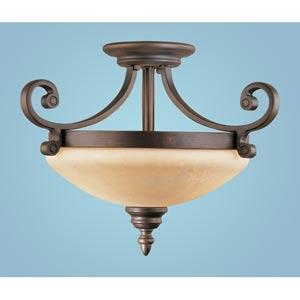 Oxford Rubbed Bronze Two-Light Semi-Flush with Turinian Scavo Glass