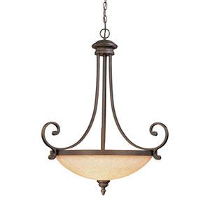 Oxford Rubbed Bronze Three-Light Pendant with Turinian Scavo Glass