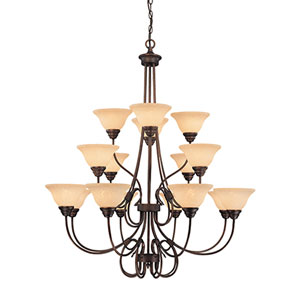 Fulton Rubbed Bronze Sixteen-Light Chandelier with Turinian Scavo Glass