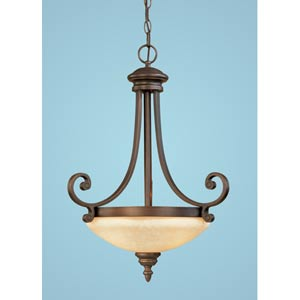 Oxford Rubbed Bronze Three-Light Pendant with Turinian Scavo Glass