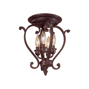 Oxford Rubbed Bronze Four-Light Semi-Flush