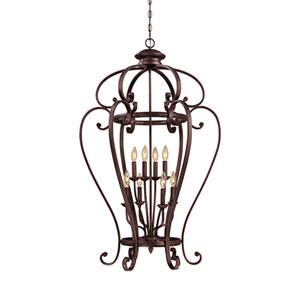 Oxford Rubbed Bronze Eight-Light Pendant