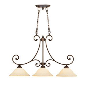 Oxford Rubbed Bronze Three-Light Island Pendant with Turinian Scavo Glass