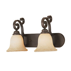Rubbed Bronze Two-Light Bath Light with Turinian Scavo Glass