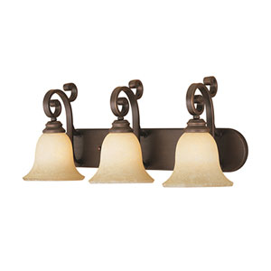 Rubbed Bronze Three-Light Bath Light with Turinian Scavo Glass