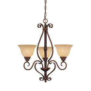 Auburn Rubbed Bronze Three-Light Chandelier with Turinian Scavo Glass