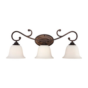 Rubbed Bronze Three-Light Bath Fixture w/ Etched White Glass