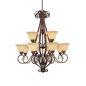 Auburn Rubbed Bronze Twelve-Light Chandelier with Turinian Scavo Glass
